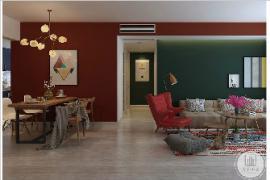 沈阳大业美家装饰:现代简约三居室,热烈奔放的红遇上庄重内敛的绿,惊艳了时光