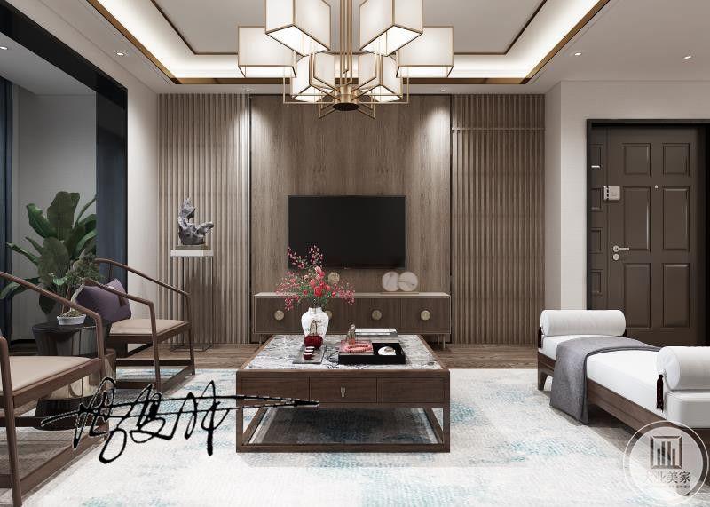 客厅经过精心布置,在电视背景墙出采用隐形门的设计