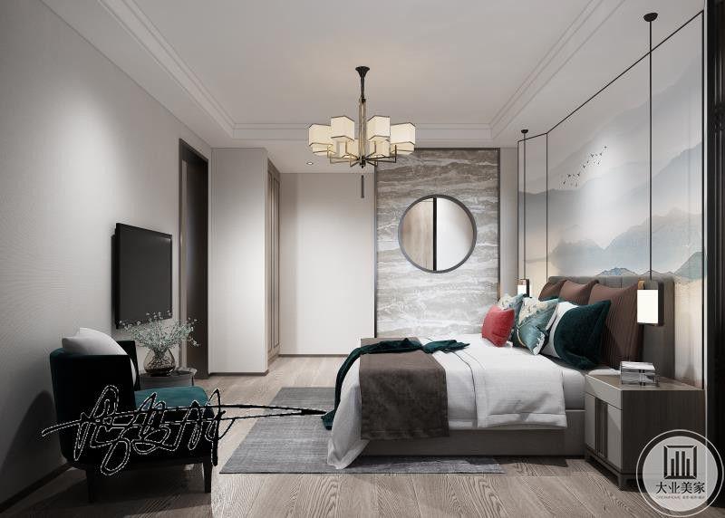胡桃色的地板大大提高房间的中式之感