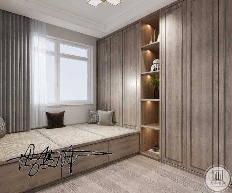 榻榻米的设计大大提高了,房子的储物空间